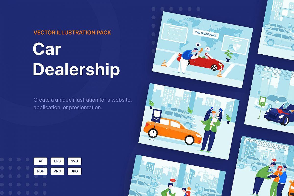 Car Dealership Vector Illustration Pack example image 1