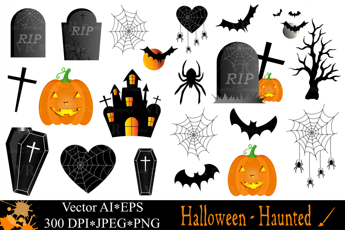 Halloween clipart with Haunted House, Haunted Tree ...
