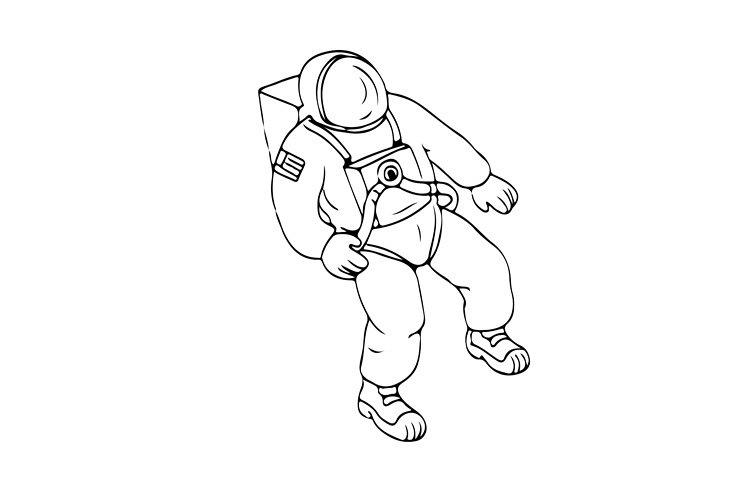 Astronaut Floating in Space Drawing example image 1
