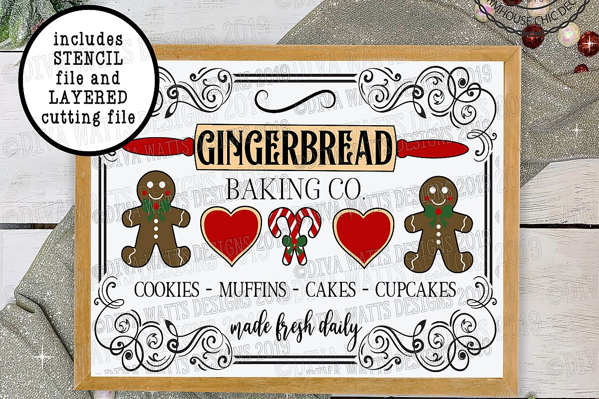 Gingerbread Baking Bakery Co Christmas Holiday Cutting File example image 1