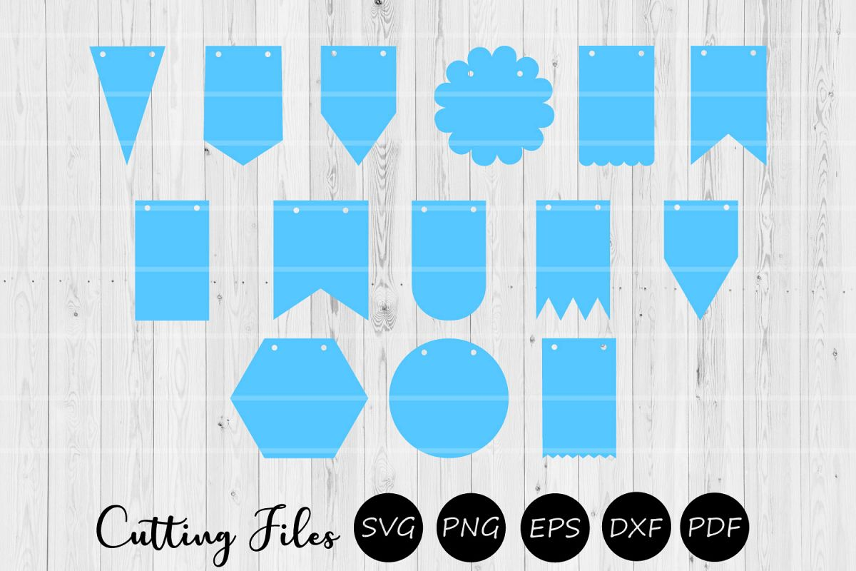 14 Bunting Banner Flags | Pennant banner | Cutting files | example image 1