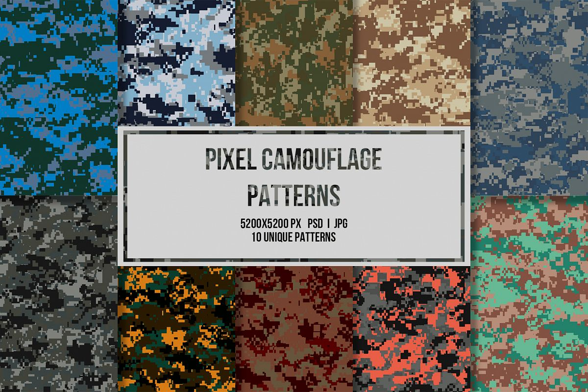10 Pixel Camouflage Patterns example image 1