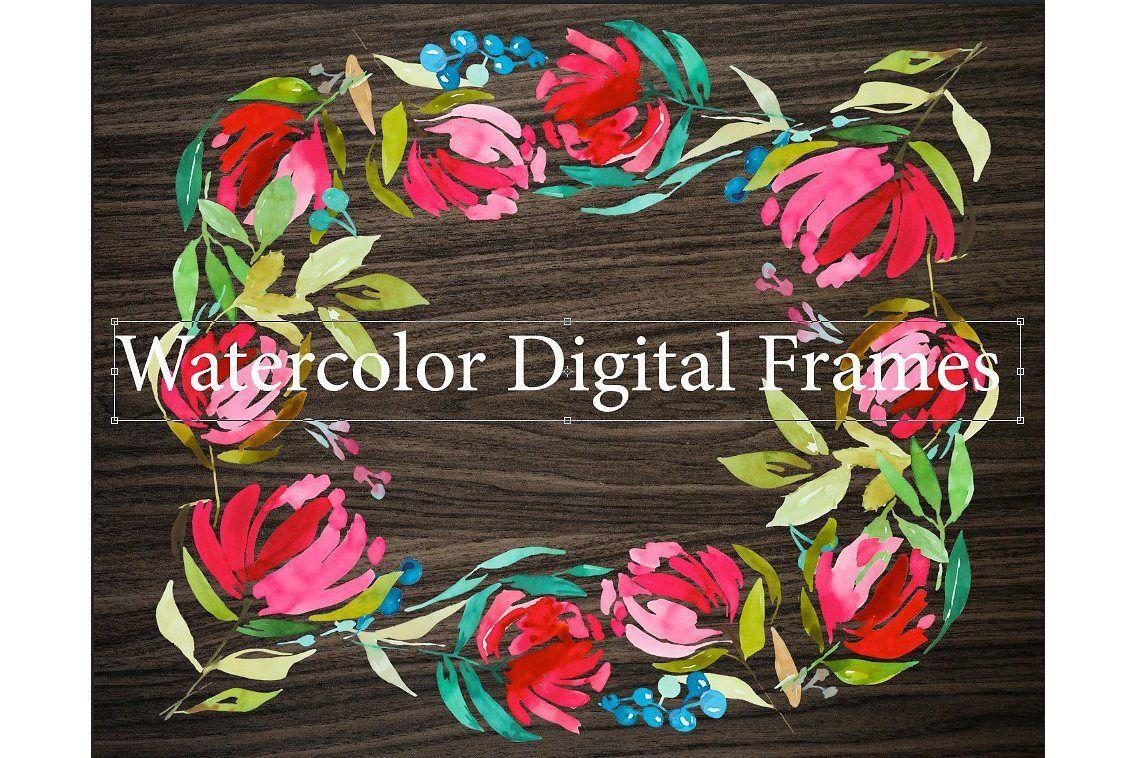 3 Watercolor Digital Frames example image 1