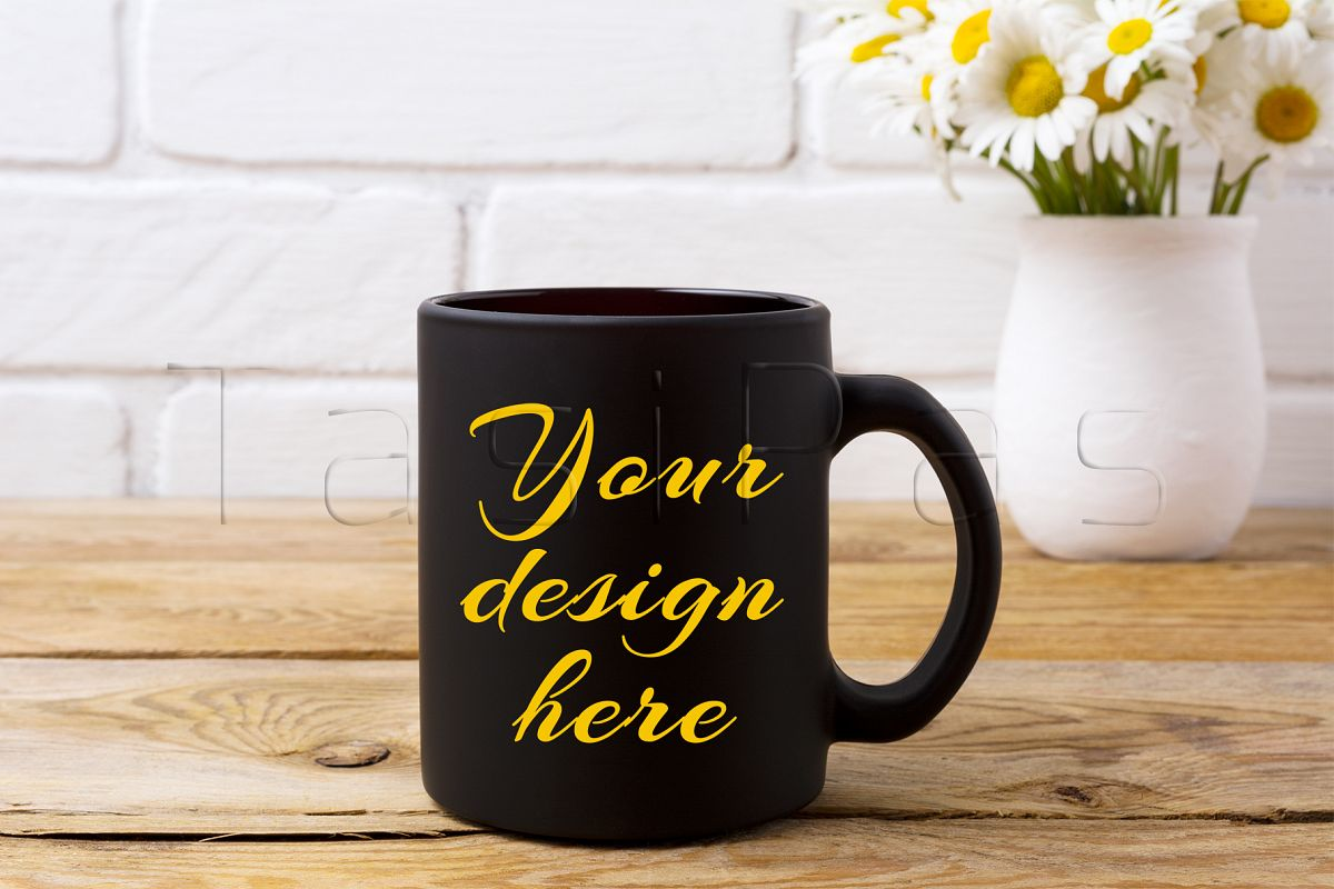 Black coffee mug mockup with white field chamomile bouquet in handmade rustic vase. example image 1