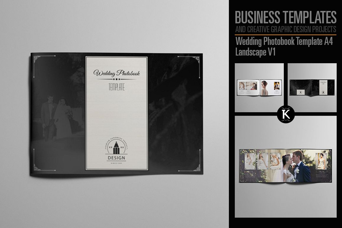 wedding photobook template a4 landscape design bundles. Black Bedroom Furniture Sets. Home Design Ideas