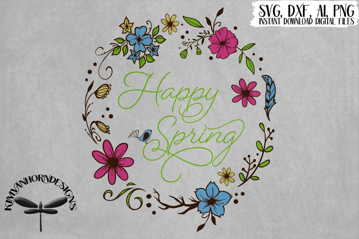Happy Spring Floral Wreath example image 1
