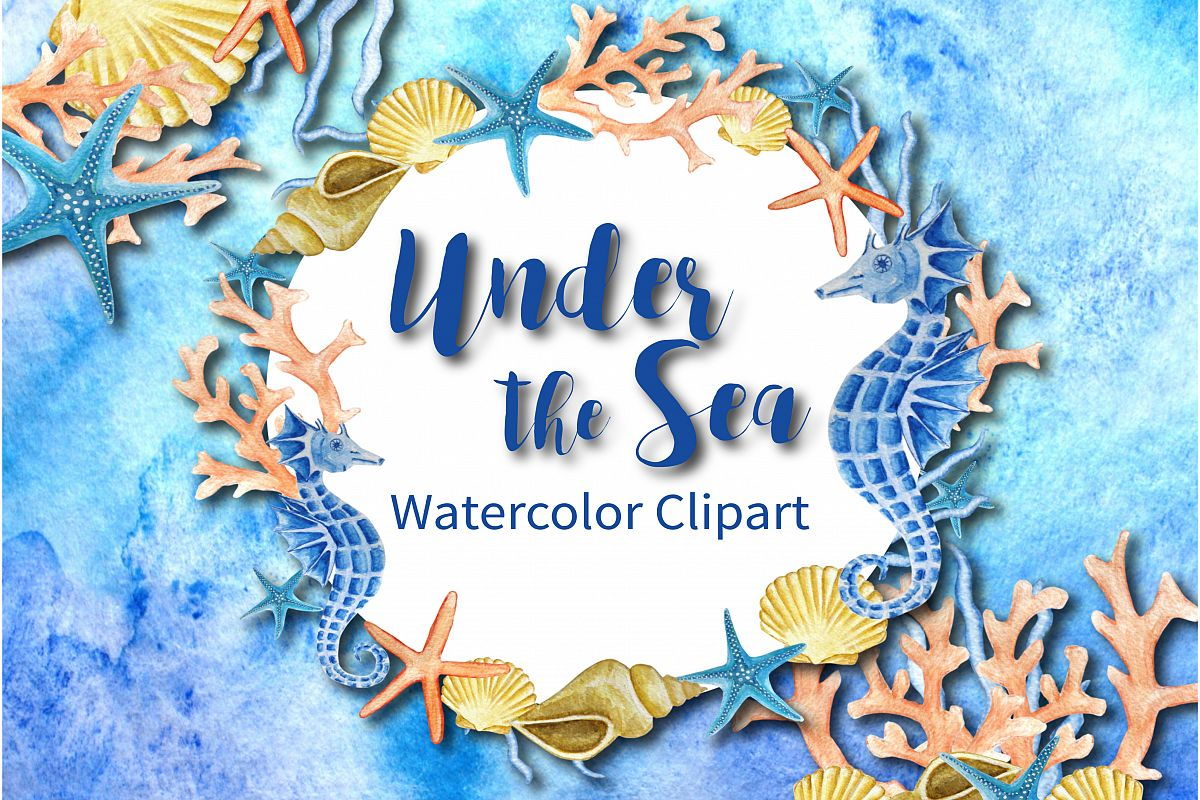 Under the Sea Watercolor Clipart example image 1