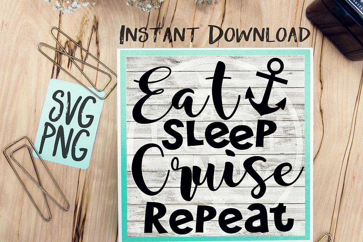 Eat Sleep Cruise Repeat SVG, Cruise SVG, Cruise Vacation SVG, Funny Cruise svg, Tropical svg, Vacation svg, Cruise Ship svg, svg for Cricut example image 1