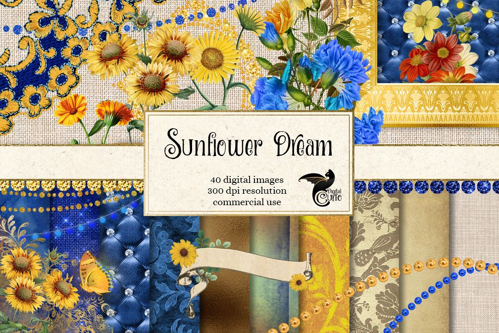 Sunflower Dream Digital Scrapbooking Kit example image 1
