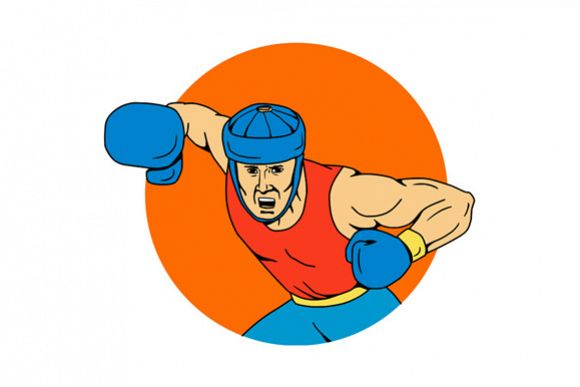 Amateur Boxer Overhead Punch Circle Drawing example image 1
