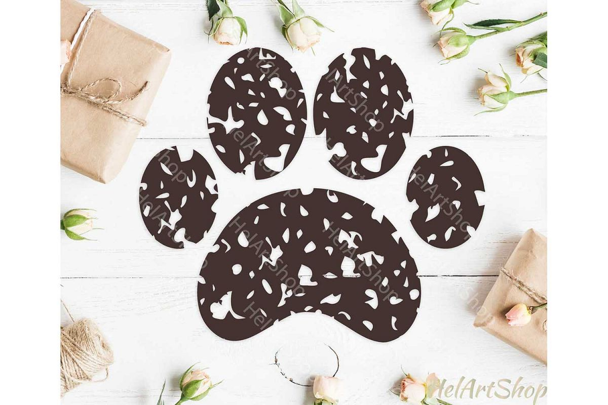 Distressed Paw svg, Dog Paw Svg, Dog Mom svg example image 1