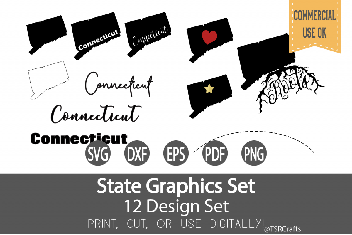 Connecticut State Graphics Set - Clip Art and Digital Cut fi example image 1