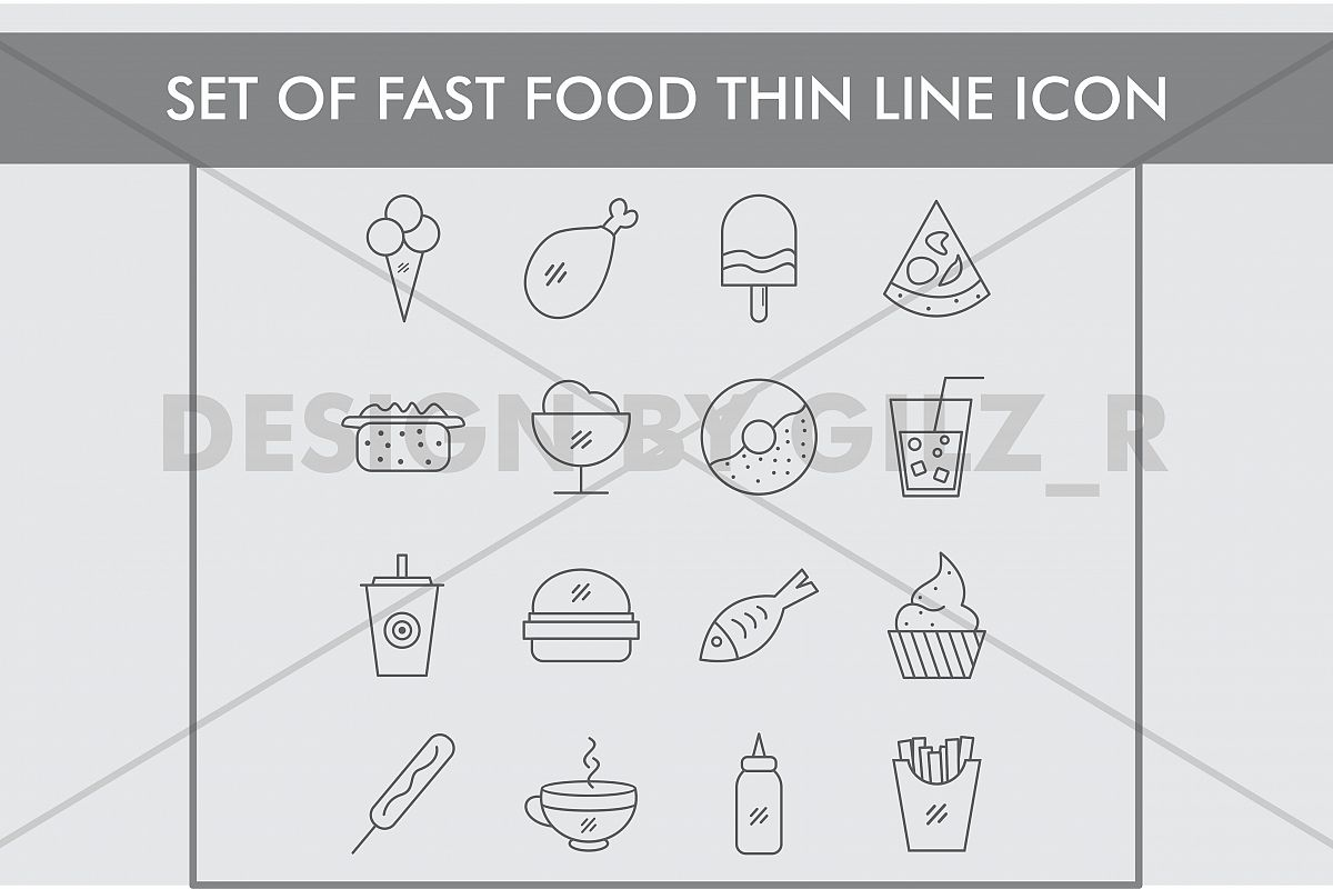 Set of Fast Food Thin Line Icons example image 1