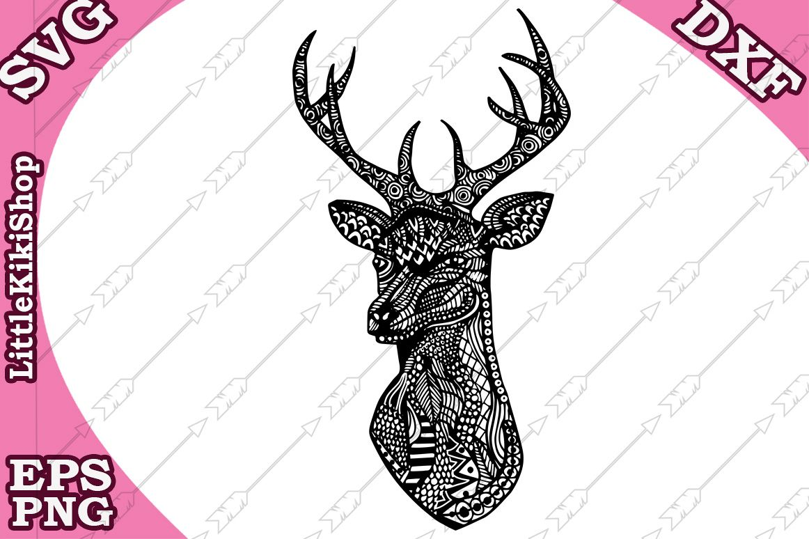 Deer Head Svg, MANDALA DEER SVG,Zentangle Svg,Coloring page example image 1