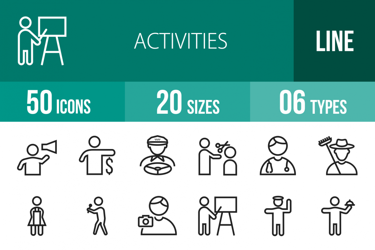 50 Activities Line Icons example image 1