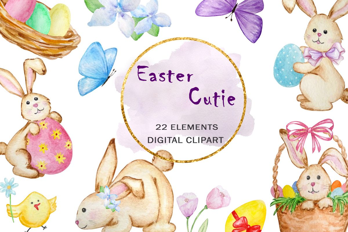 Watercolor Easter Cute Bunny Clipart Set example image 1