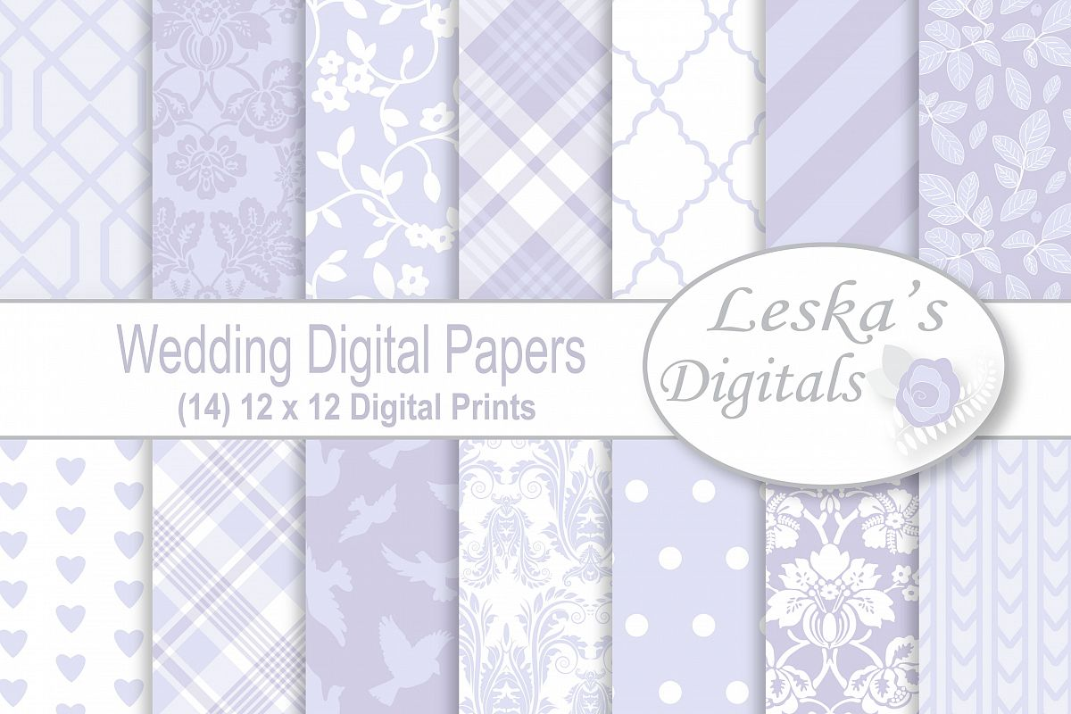 Lavender Wedding Digital Paper example image 1