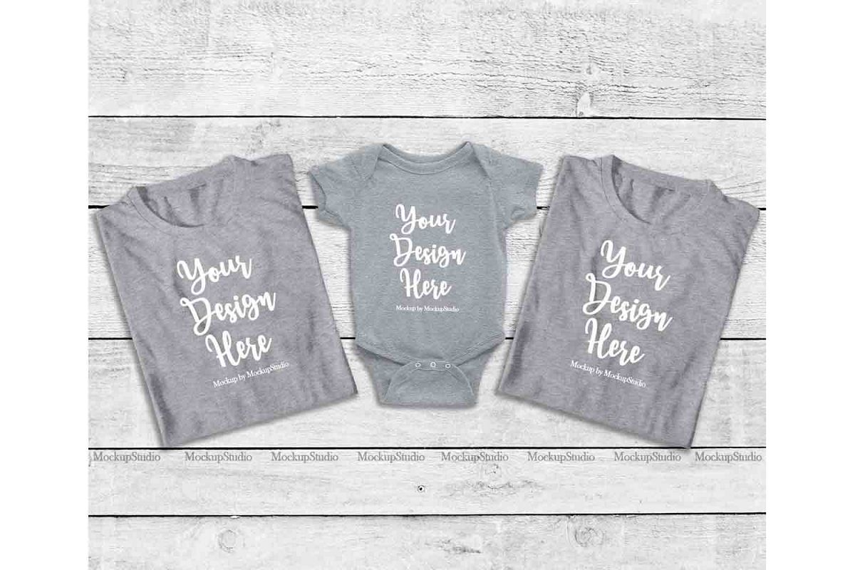 Family Gray Folded Tshirt Mock Up, Baby Bodysuit Mockup example image 1