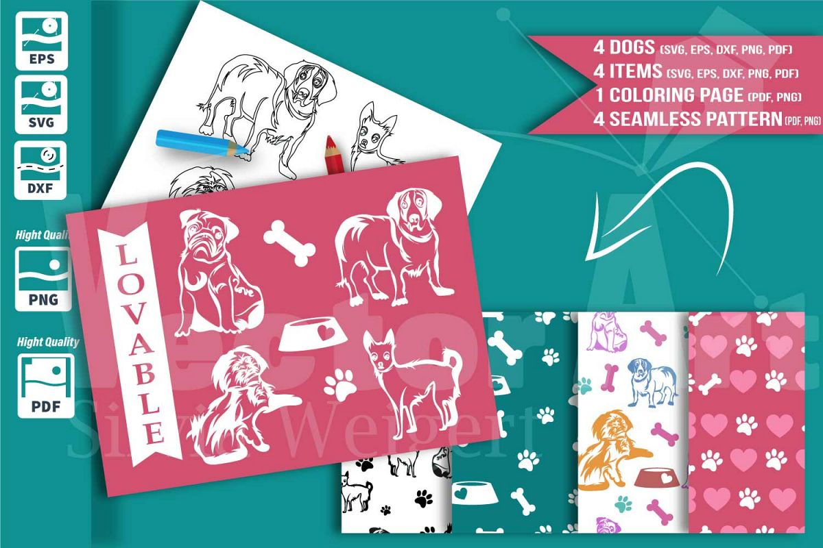 Little dog bundle. Cutting files, color | Design Bundles