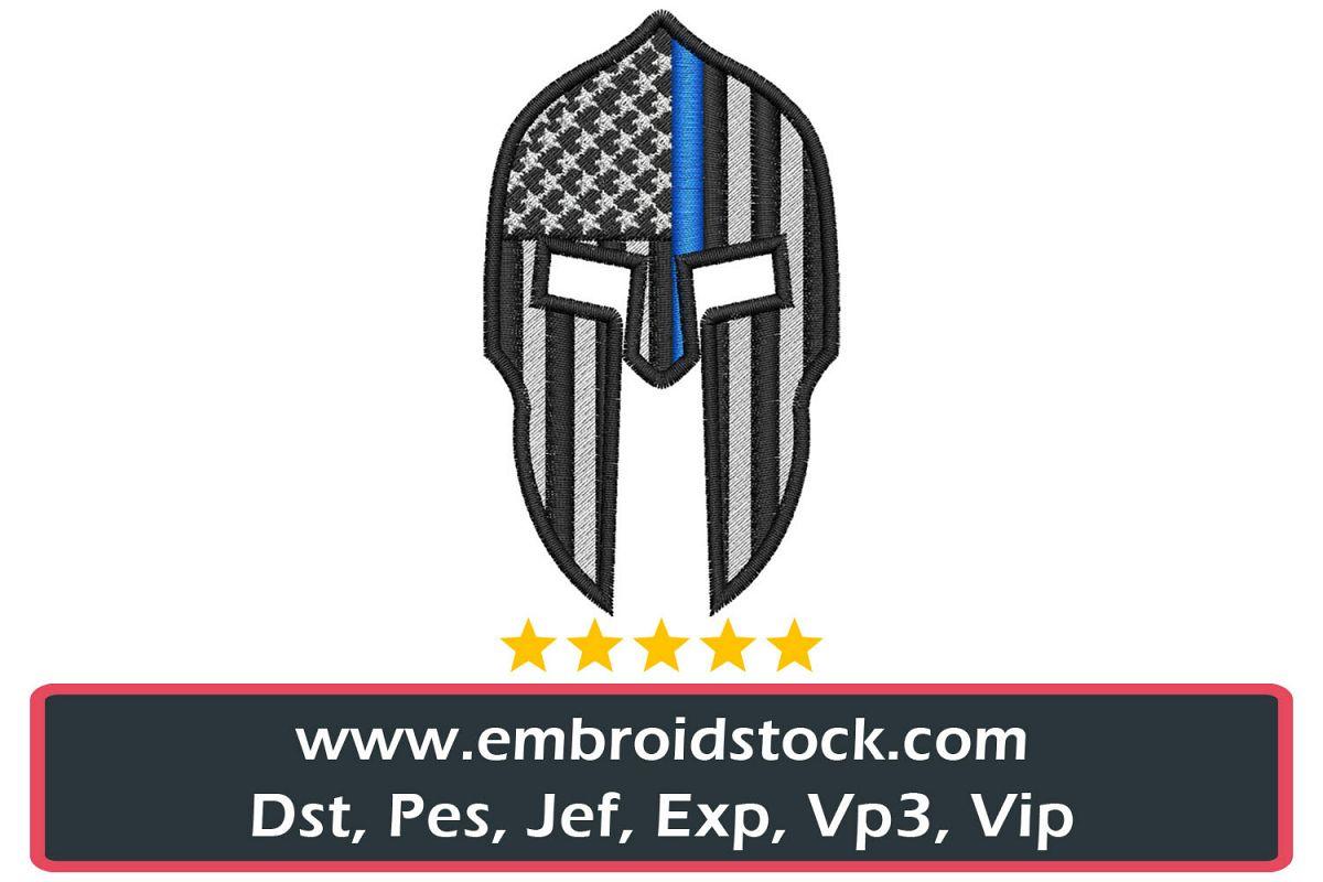 Thin Blue Line Molon Labe Spartan Helmet example image 1