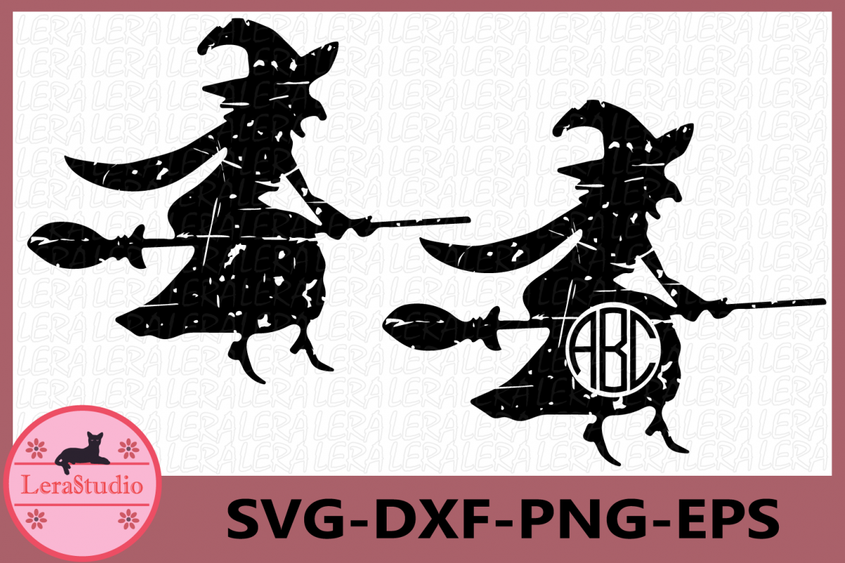Halloween Svg, Witch Grunge Svg, Witch Clipart, Halloween example image 1