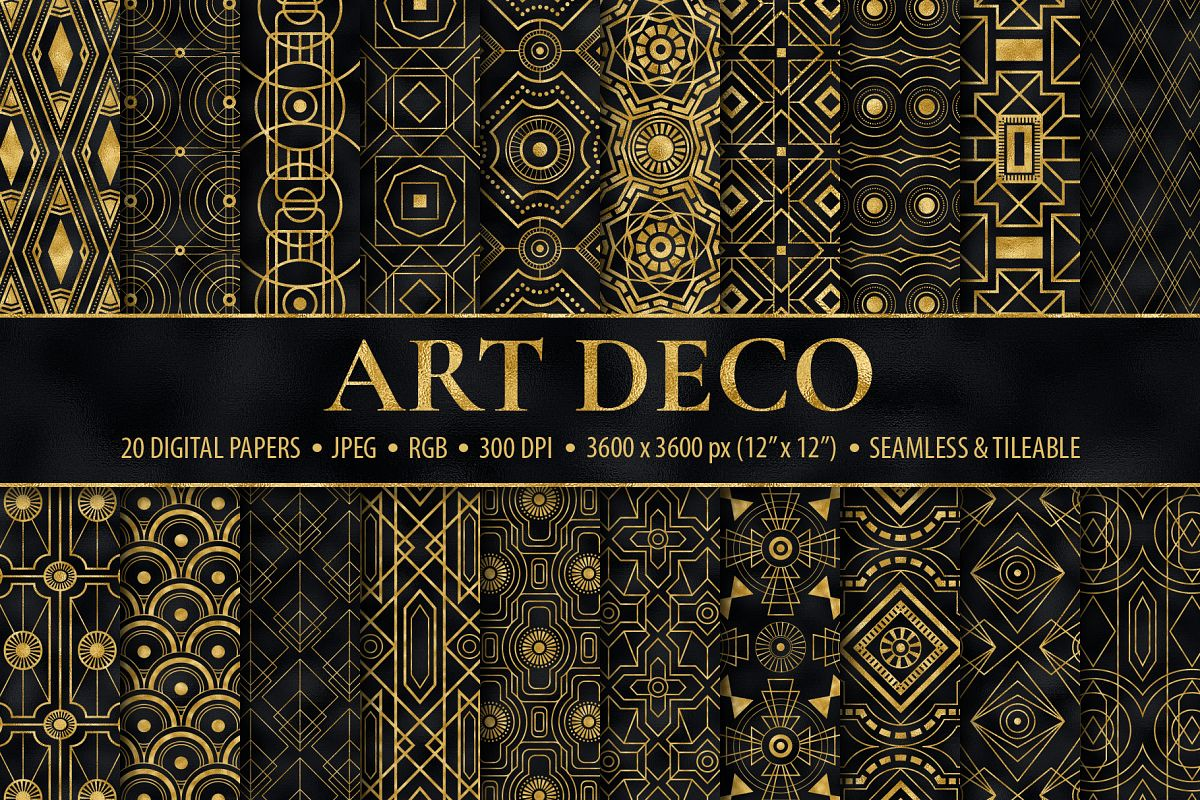 Seamless Art Deco Patterns - Black and Gold Digital Papers example image 1
