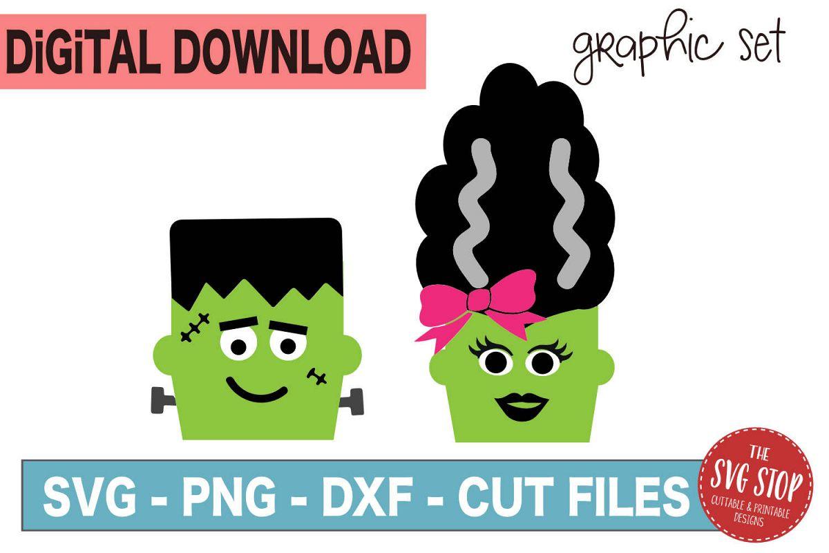 Halloween Graphics Frankensteins - SVG, PNG, DXF example image 1