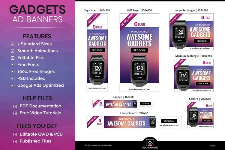 Viewing Product Gadgets Booking Animated Ad Banner Template