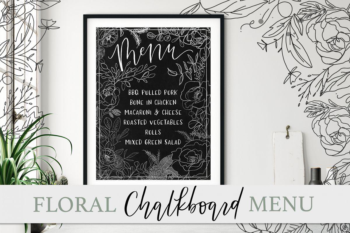 Floral Chalkboard Menu example image 1