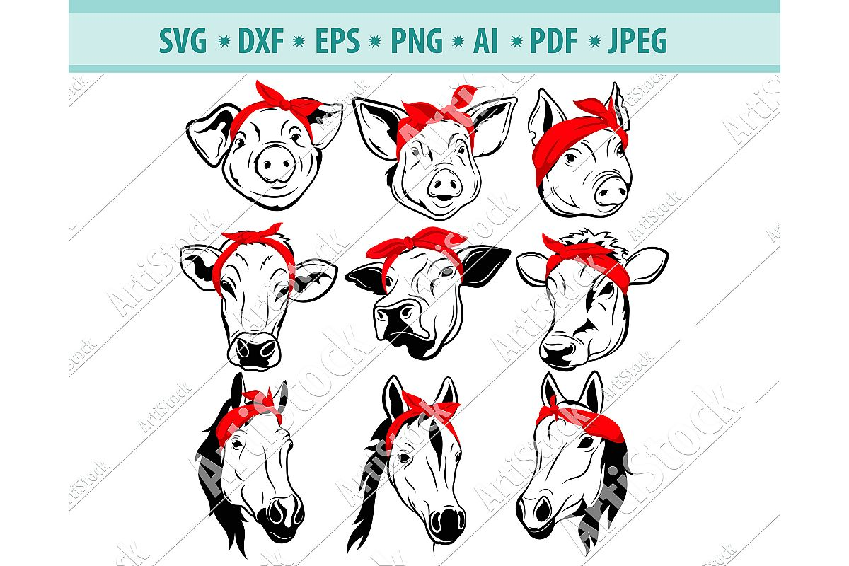 Farm animals with bandana Png, Animal head bandana Dxf, Eps example image 1