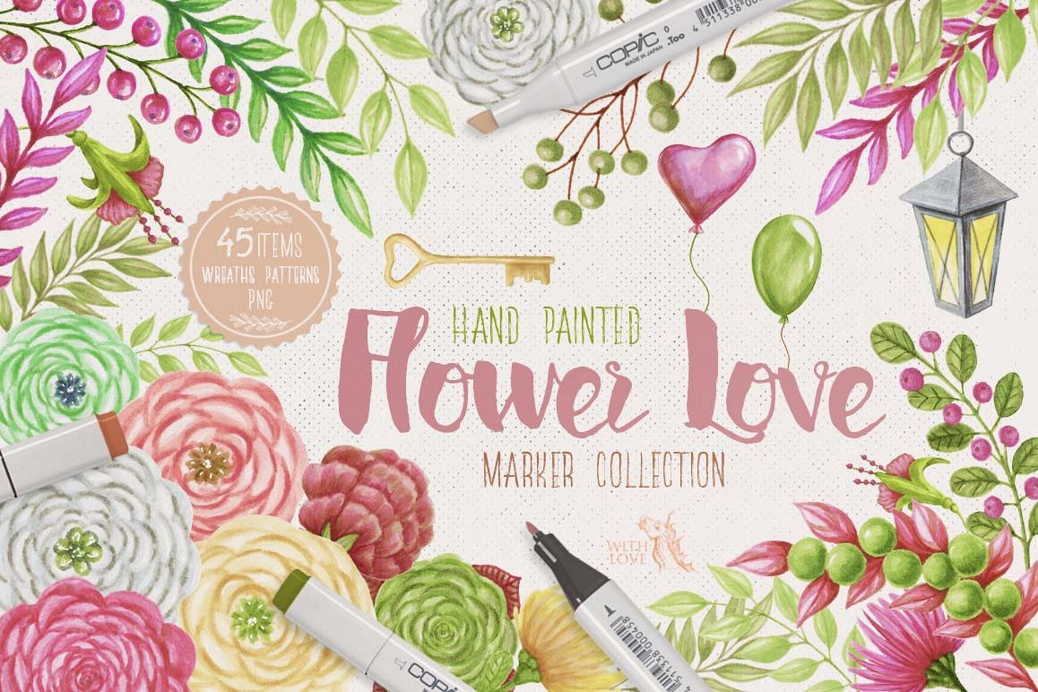 Flower Love Marker Kit example image 1