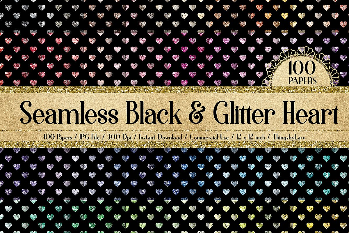 100 Seamless Black and Glitter Heart Valentine Digital Paper example image 1
