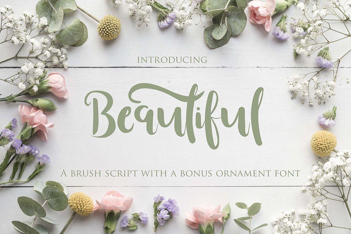 Beautiful Font with Bonus Ornament font example image 1