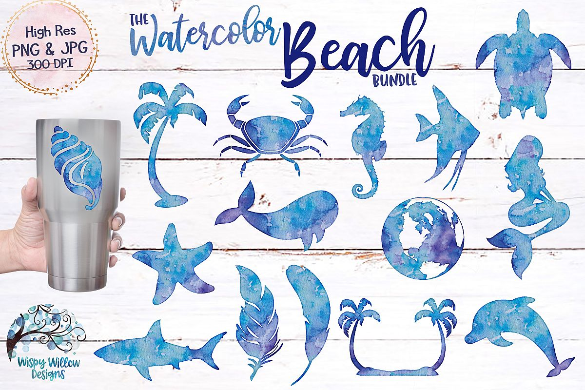 The Watercolor Beach Bundle   PNG   Sublimation   Clipart example image 1