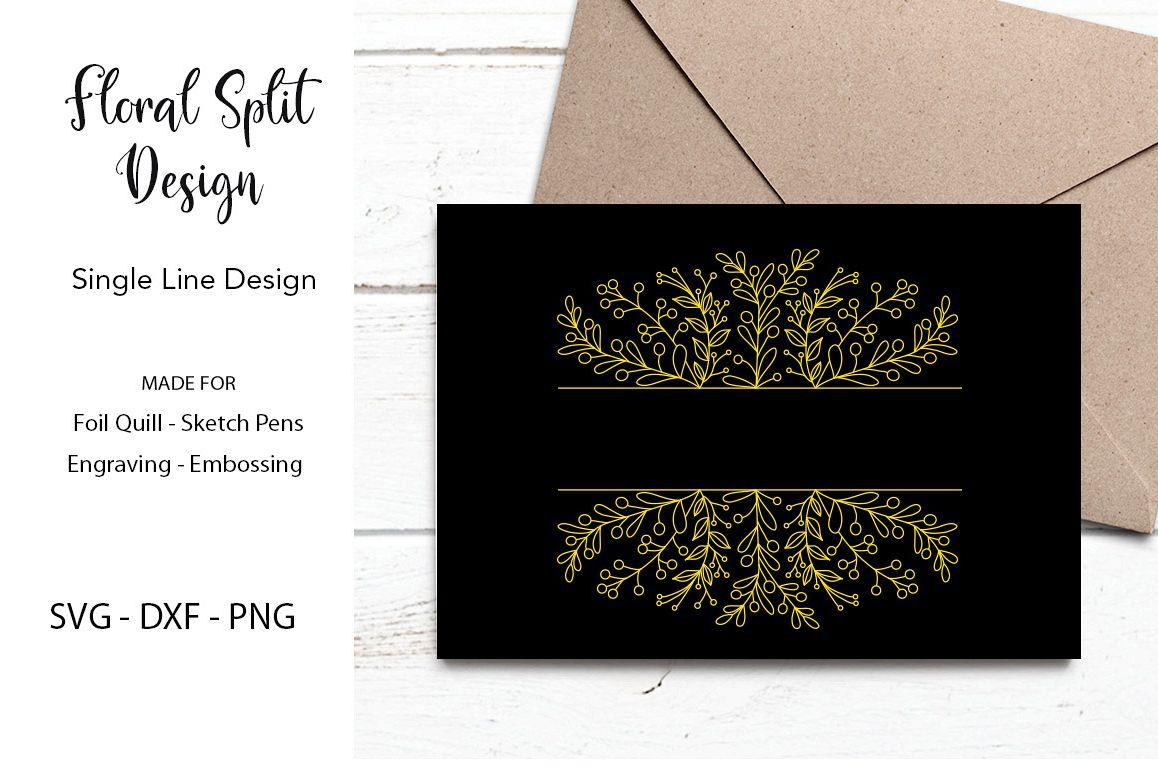 Floral Split Design for Foil Quill Single Line Design example image 1