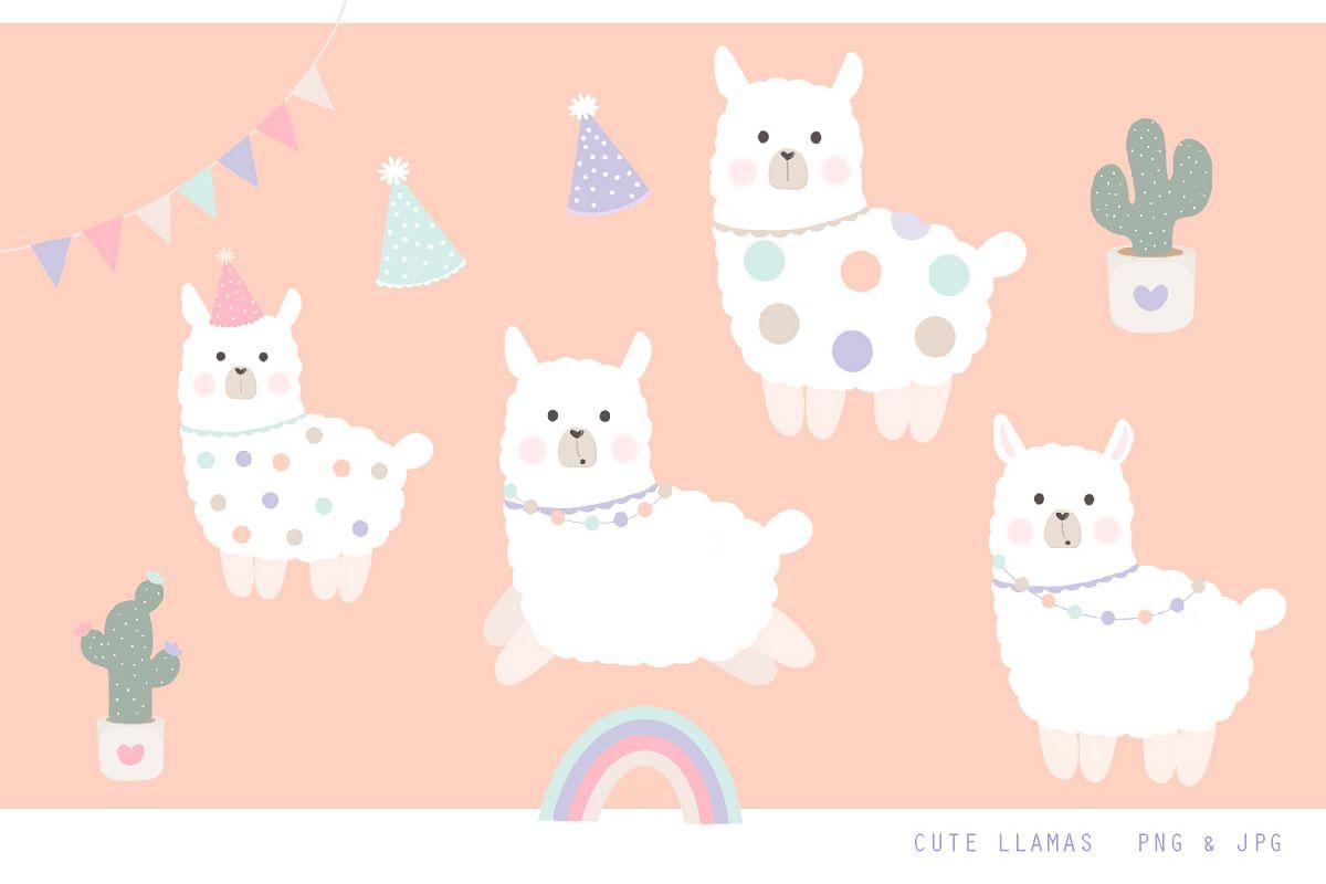 Cute Llama Clipart - Jpg, png, 300 dpi illustrations example image 1