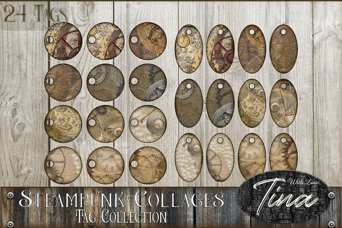 24 STEAMPUNK PRESTIGE Tags Collage Oval Circle 091618SP3 example image 1