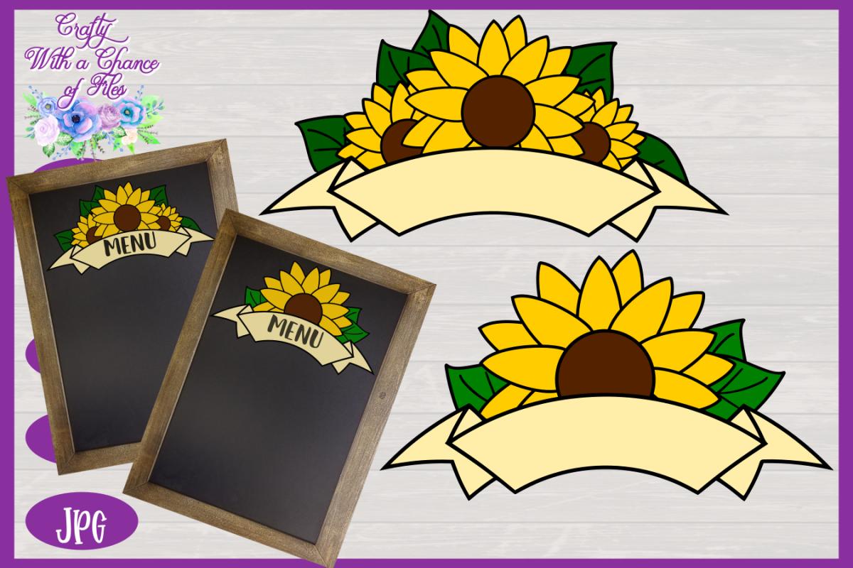 Sunflower Ribbon Banner SVG   Autumn SVG   Fall Banner SVG example image 1