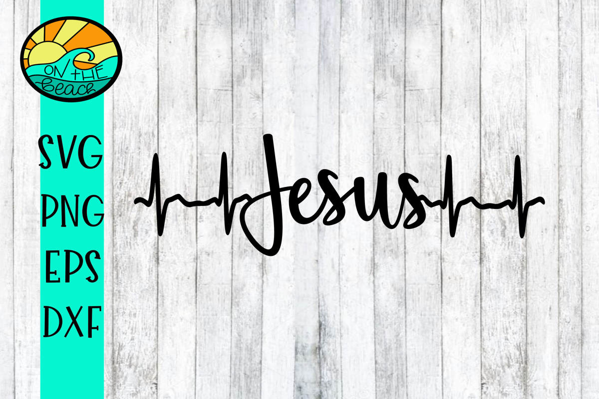 JESUS - HEARTBEAT - SVG PNG DXF EPS example image 1