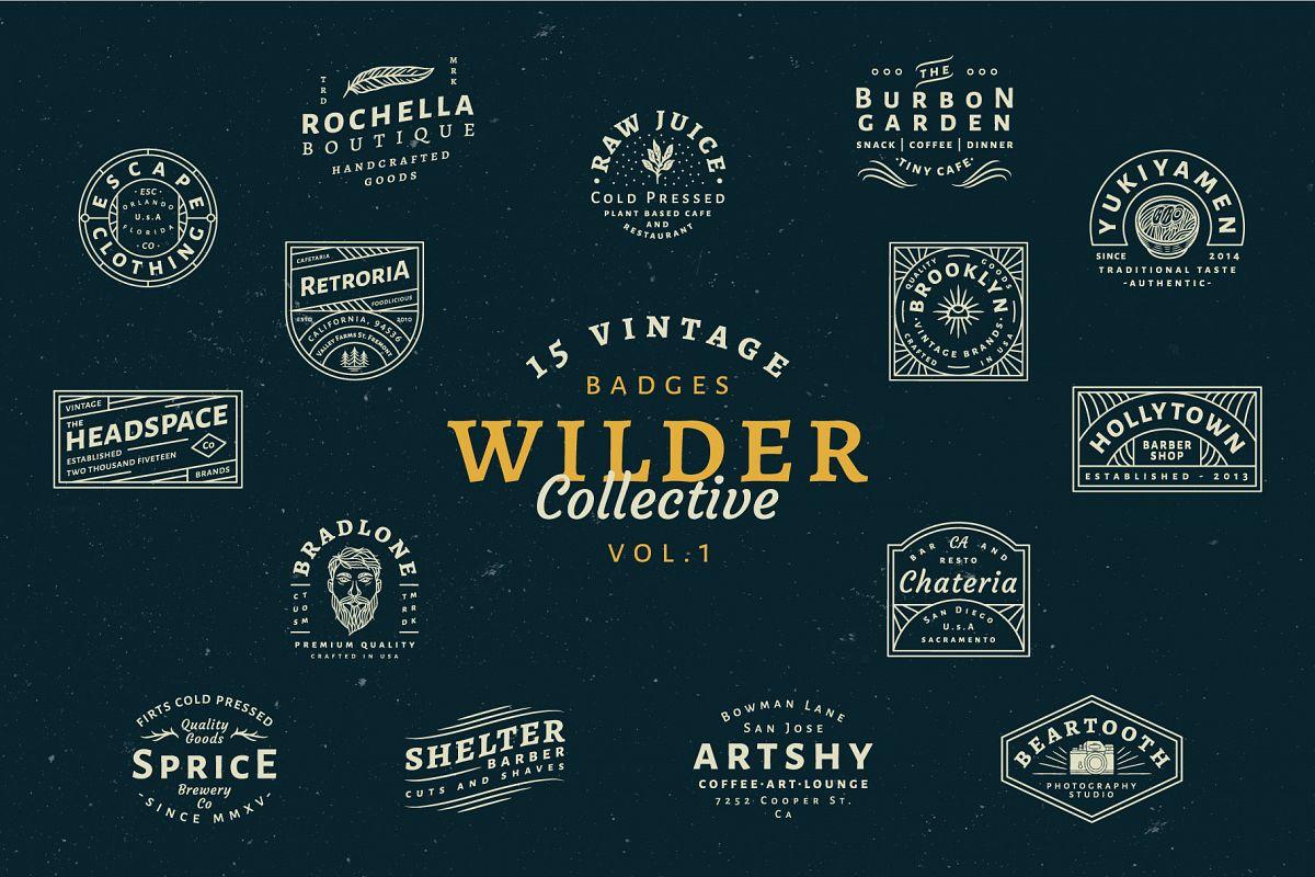 15 Vintage Bagde Logos Vol.1 example image 1