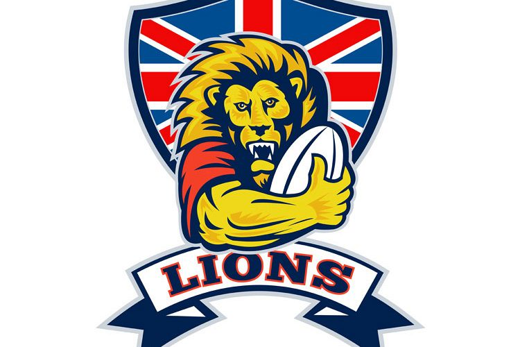 Lion playing rugby with ball Union Jack shield example image 1