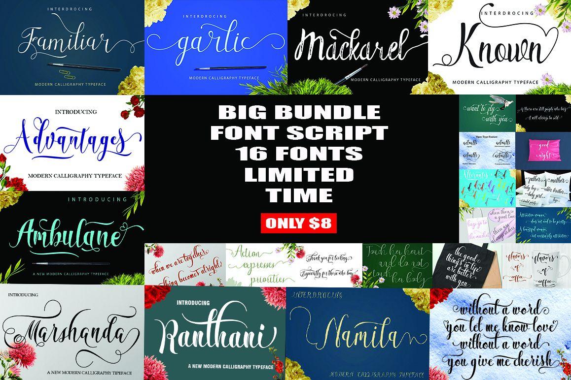 BIG BUNDLE FONT SCRIP example image 1