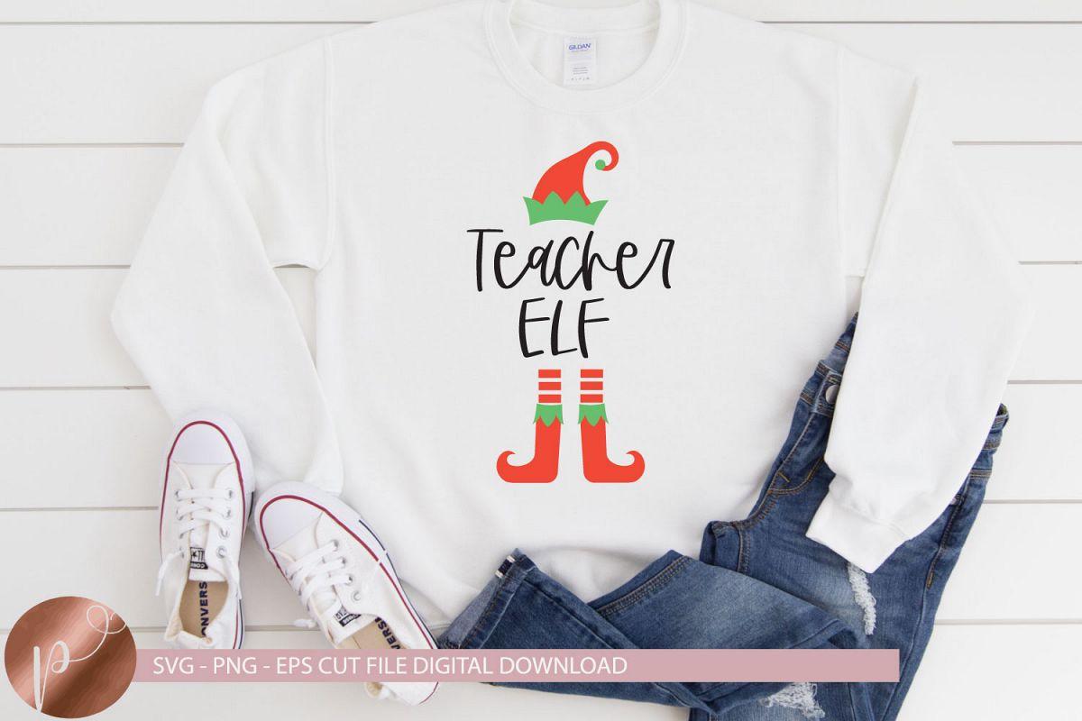 Teacher Elf Svg Png Eps Christmas Teacher Design, Elf Svg example image 1