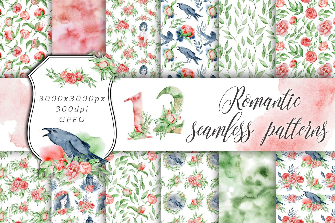 Romantic digital paper Seamless patterns clipart example image 1
