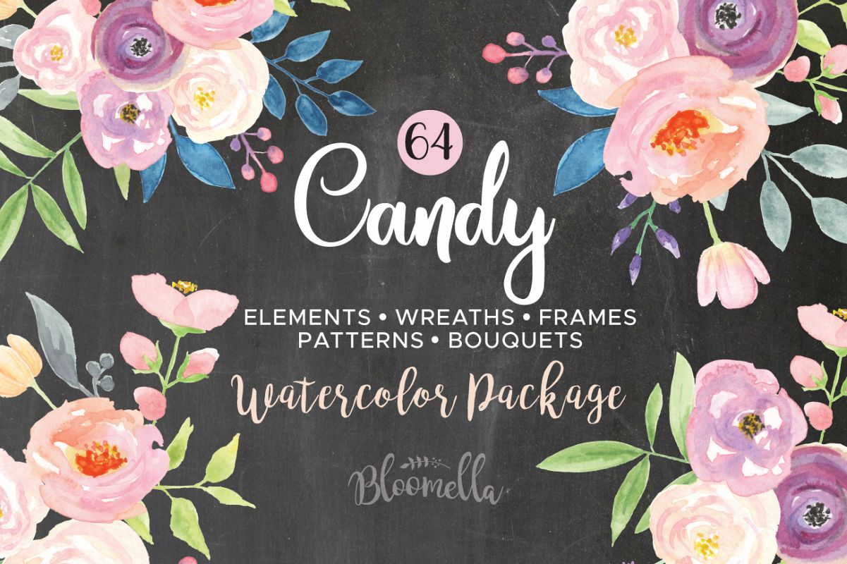 Candy watercolor pretty flower kit floral pink package candy watercolor pretty flower kit floral pink package example image 1 mightylinksfo
