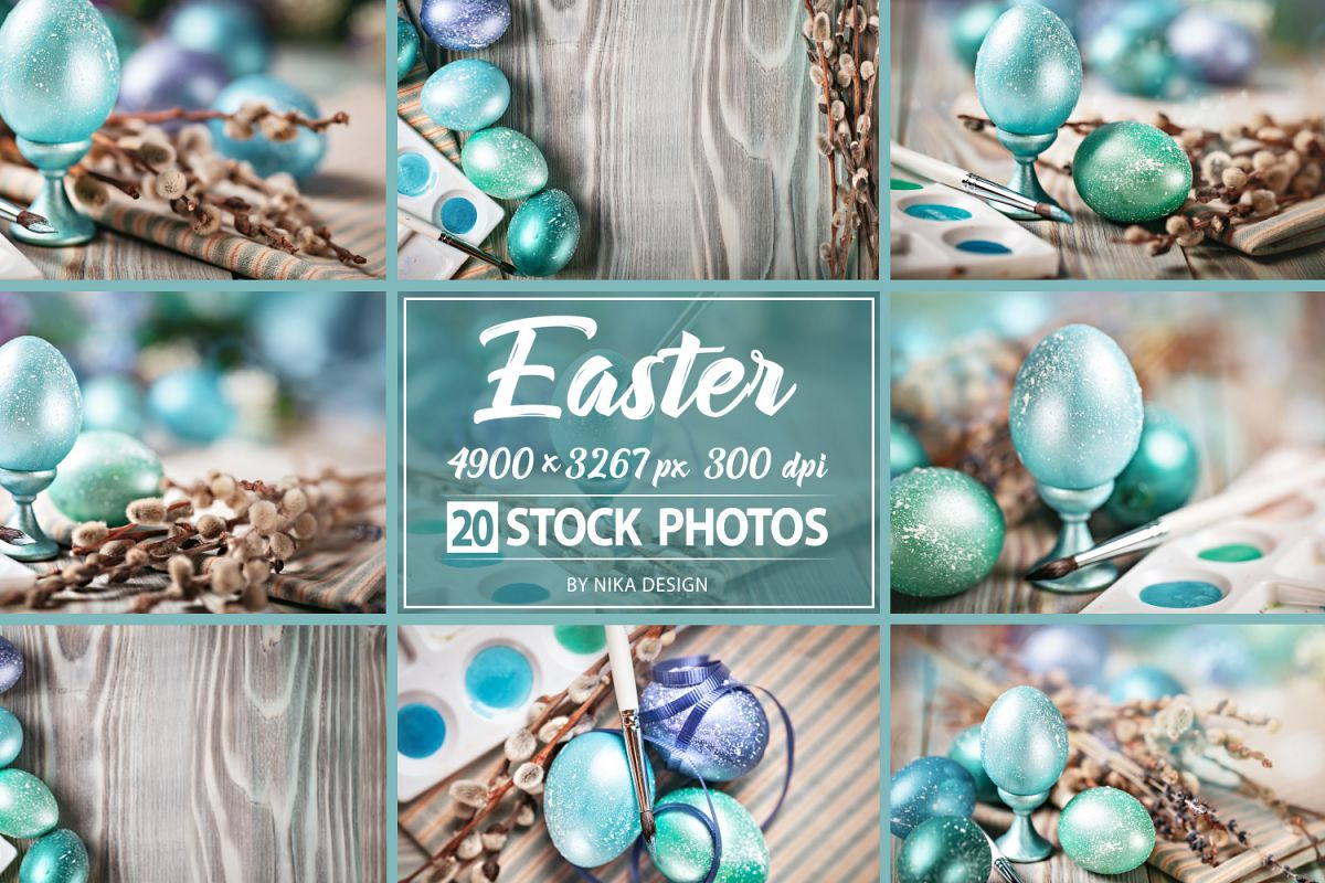 Bundle of greeting Easter backgrounds. example image 1