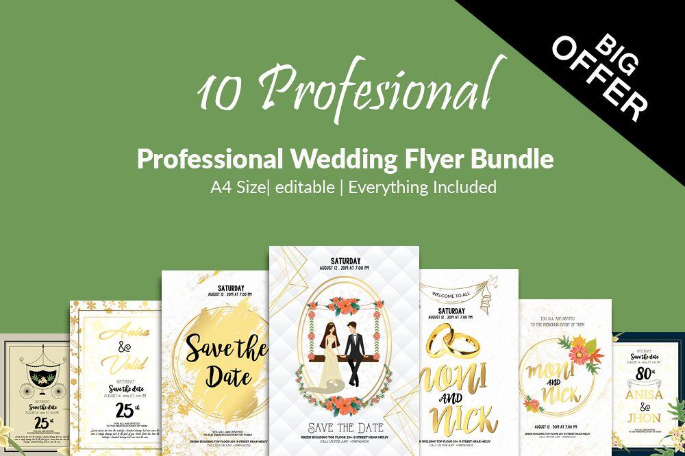 10 Wedding Invitation Flyer Bundle example image 1