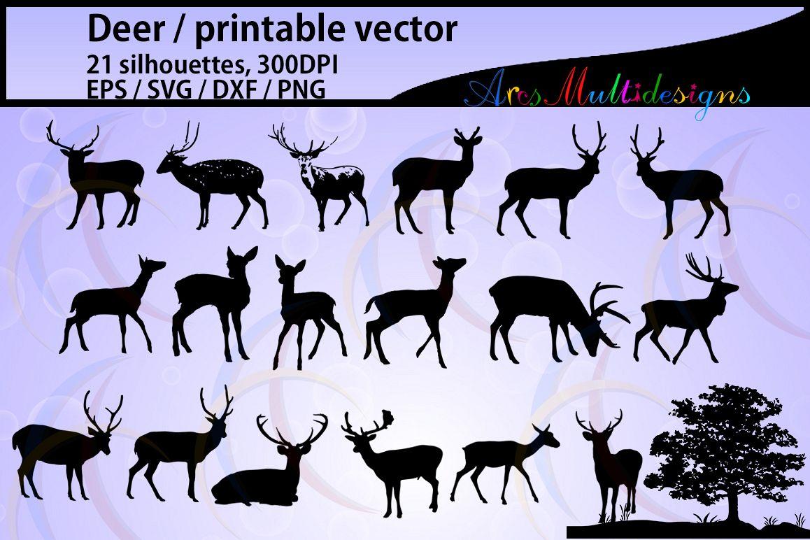 Deer silhouette / deer silhouette svg file / vector deer / Deer SVG / EPS / PNG / DXf / Autumn Deer and Antler Silhouette  / tree silhouette / 21nos example image 1