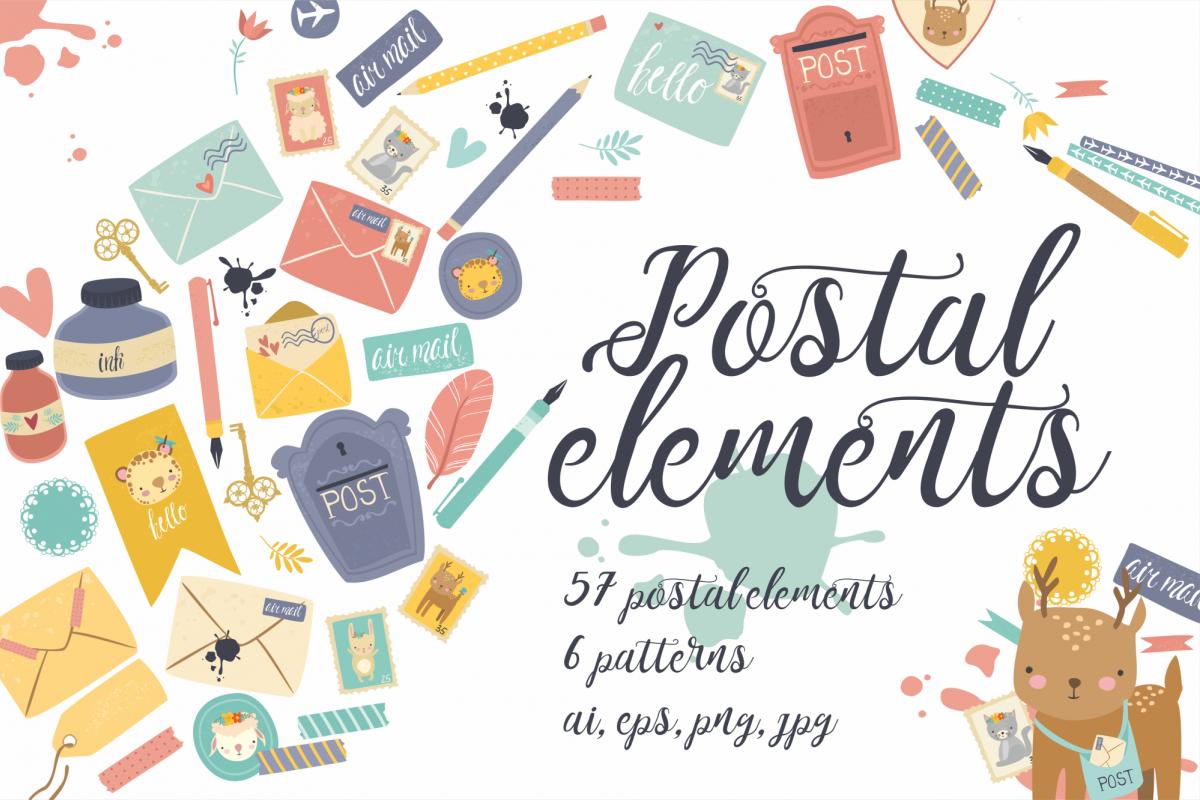Postal set (eps, ai, png, jpg) example image 1