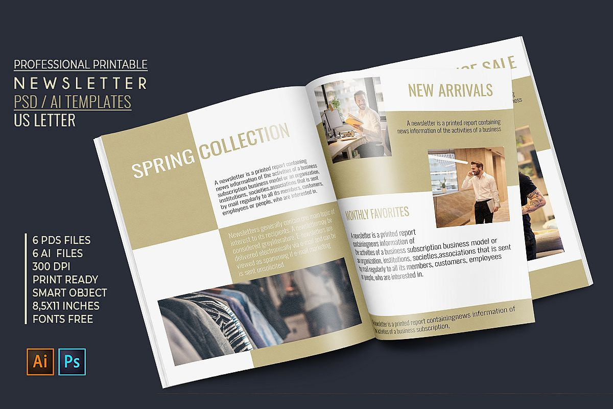 Professional Newsletter - 6 Printable Templates example image 1